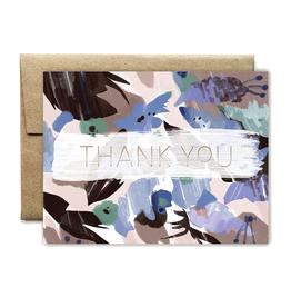 Foil Blue Floral Thank You
