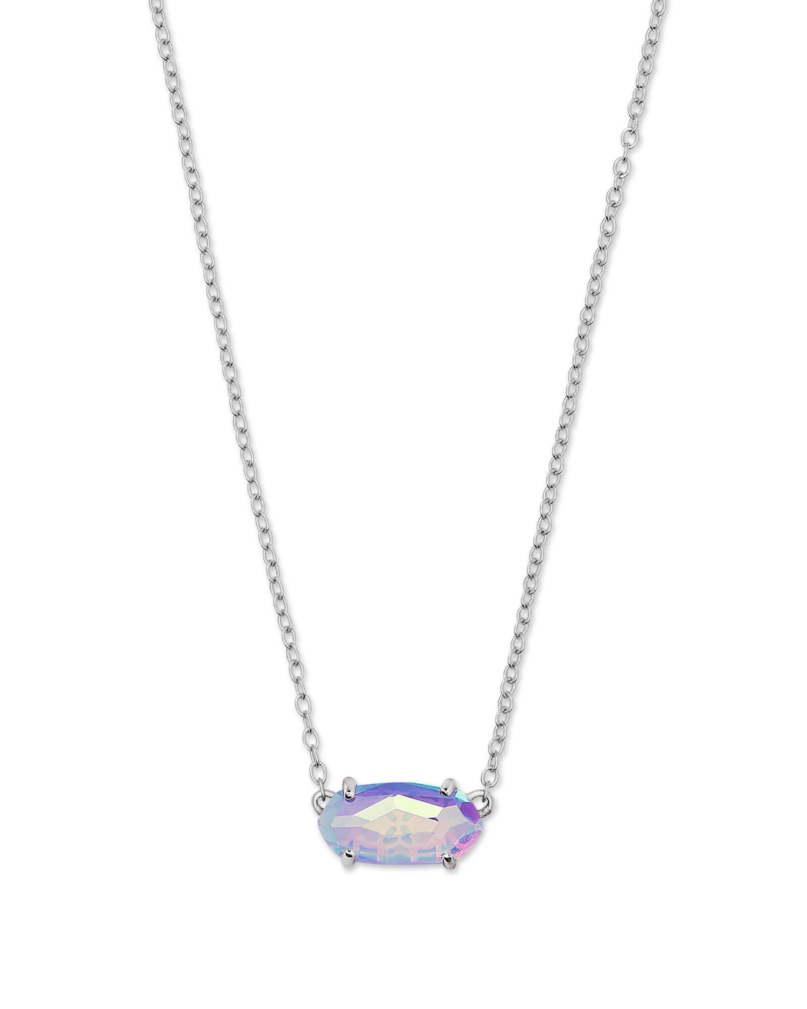 Ever Necklace - Rhodium Gray Dichroic Glass