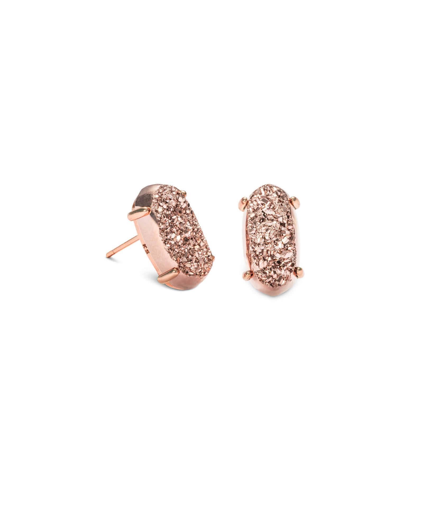 Betty Earring - Rose Gold Drusy
