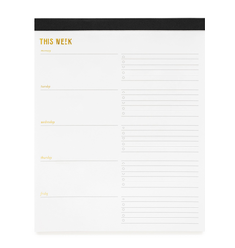 Notepad Weekly Pad, Lg, Blk