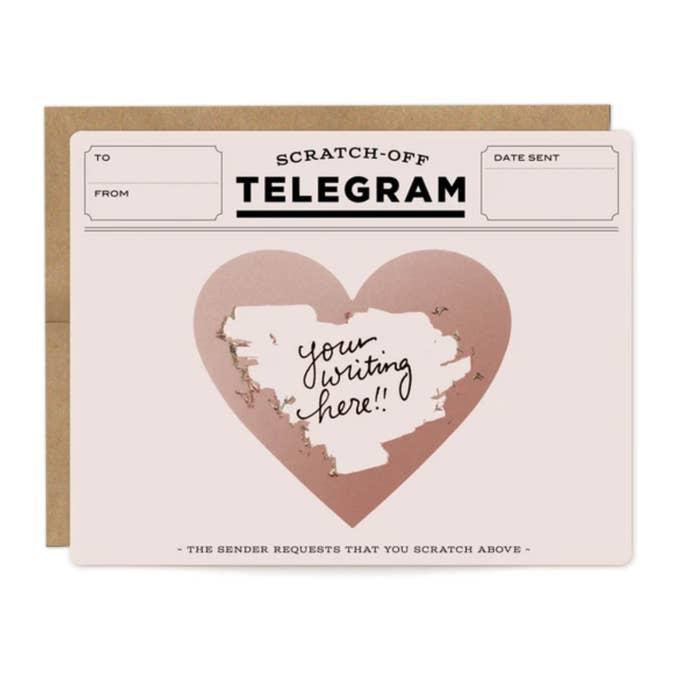Love Rose Gold Telegram Scratch-Off