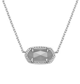 Elisa Necklace - Rhodium Slate Cat's Eye