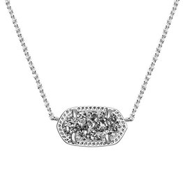 Elisa Necklace - Rhodium Platinum Drusy