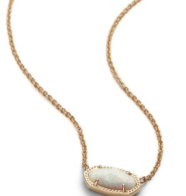 Elisa Necklace - Gold White Opal