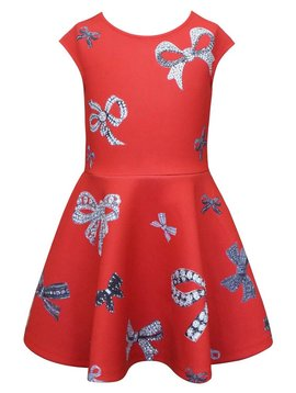 Sara Sara Jeweled Bow Skater Dress - Hannah Banana