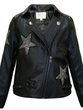 Sara Sara Star Patch Leather Jacket - Hannah Banana