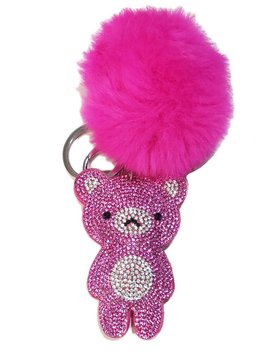 Bari Lynn Crystal Hot Pink Bear Keychain - Bari Lynn Accessories