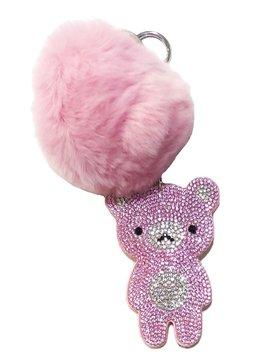 Bari Lynn Crystal Pink Bear Keychain - Bari Lynn Accessories