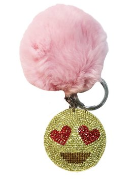 Bari Lynn Crystal Heart Eyes Emoji Keychain - Bari Lynn Accessories