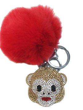 Bari Lynn Crystal Monkey Emoji Keychain - Bari Lynn Accessories