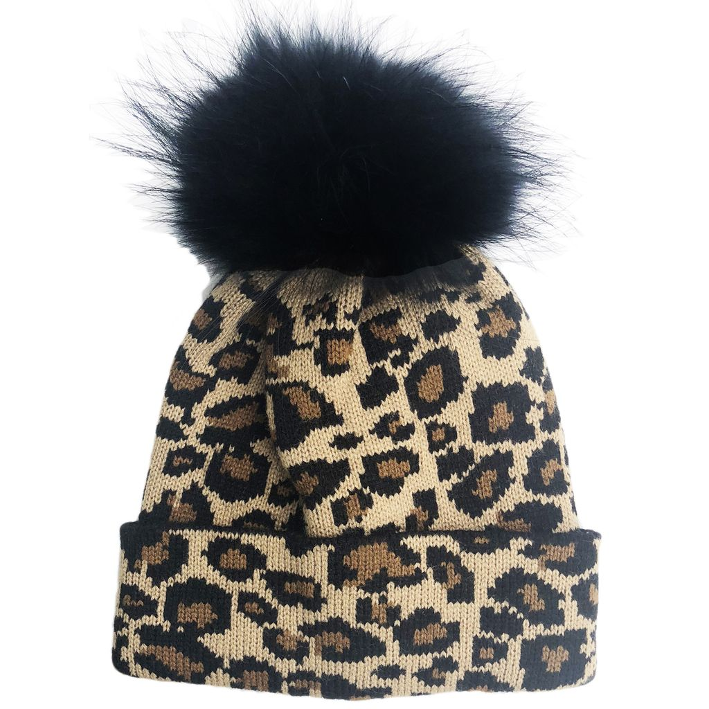 Sugar Bear Fur Pom Pom Leopard Hat
