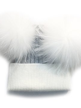 Sugar Bear Dbl Pom Pom - White & Grey