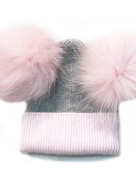 Sugar Bear Dbl Pom Pom - Pink & Grey