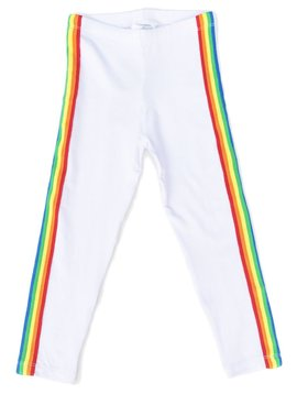 Flowers by Zoe White Legging with Rainbow Trim - Flowers By Zoe