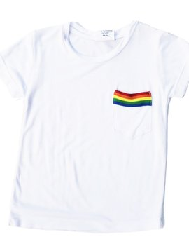 Flowers by Zoe White Tee with Pocket Rainbow Trim - Flowers By Zoe