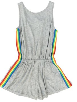 Flowers by Zoe Grey Romper with Rainbow Trim - Flowers By Zoe