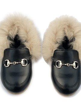 Sugar Bear Fur Trim Black Loafers