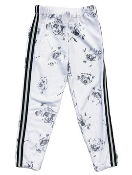 Flowers by Zoe White Sweatpant with Flowers and Stripe Trim - Flowers By Zoe