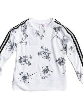 Flowers by Zoe White Sweatshirt with Flowers and Stripe Trim - Flowers By Zoe