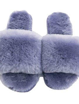 Sugar Bear Lamb Fur Slippers - Lavender Grey