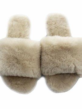 Sugar Bear Lamb Fur Slippers - Cream