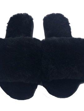 Sugar Bear Lamb Fur Slippers - Black