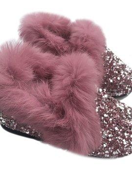 Sugar Bear Fur Trim Pink Crystal Loafers
