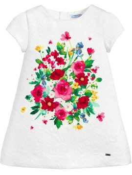 Mayoral Floral Ivory Jacquard Dress - Mayoral Clothing