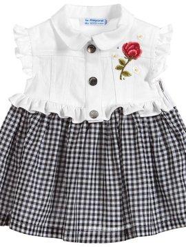 Mayoral White Denim Gingham Dress - Mayoral Clothing