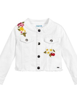 Mayoral White Denim Jacket w Flowers - Mayoral Clothing