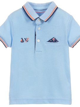 Mayoral Blue Polo w Neon Detail - Mayoral Clothing