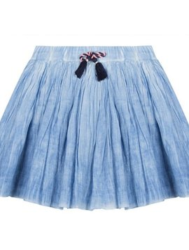 3pommes & B-Karo Denim Cotton Gauze Skirt - 3 Pommes