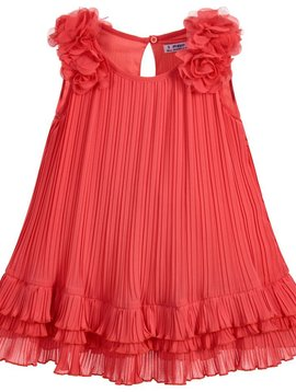 Mayoral Coral Pleated Rosette Dress - Mayoral Clothing