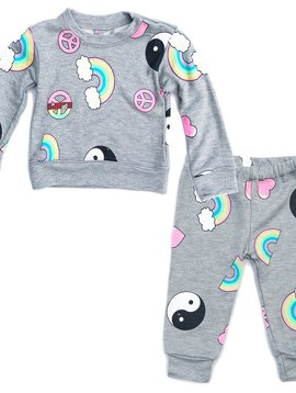 Flowers by Zoe Baby Rainbow Peace Sweatshirt and Pant Set - Flowers By Zoe