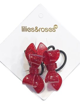 Lilies and Roses Ponytail - Glitter Red Bows - Lilies and Roses
