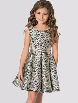 Zoe Ltd Gold and Black Print Skater Dress - Zoe Ltd
