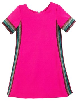 Zoe Ltd Dress with Metallic Stripes - Pink - Zoe Ltd