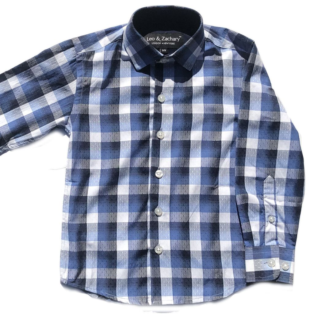 Leo & Zachary Dress Shirt - Navy Bold Plaid - Leo and Zachary