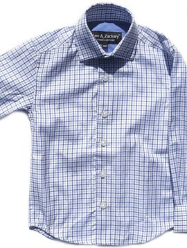 Leo & Zachary Dress Shirt - Classic Blue Plaid - Leo and Zachary