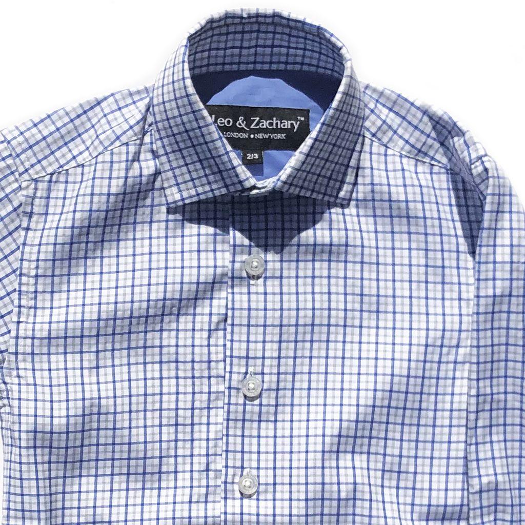 Leo & Zachary Dress Shirt - Classic Blue Plaid - Leo and Zachary