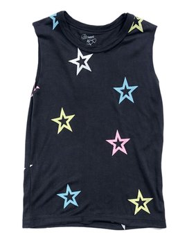 Flowers by Zoe Pastel Star Black Tank - Flowers By Zoe