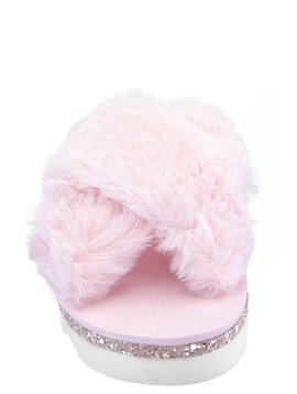 Nina Anjali Slide - Pink Faux Fur - Nina Kids Shoes
