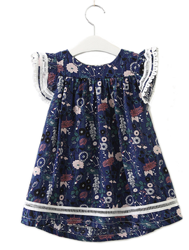 Survolte Navy Floral Ruffle Lace Dress