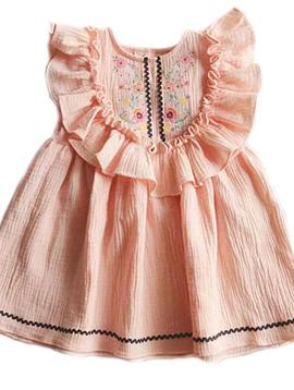 Survolte Pink Gauze Ruffle Dress