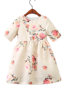 Survolte Cream Floral Dress
