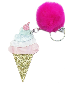 Bari Lynn Ice Cream Lucite Fur Keychain - Bari Lynn Accessories