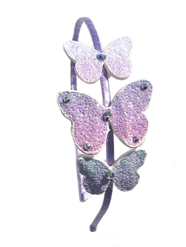 Bari Lynn Headband - Purple Glitter Butterflies - Bari Lynn Accessories