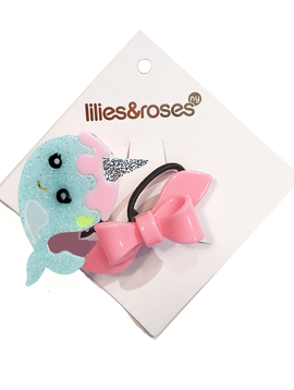 Lilies and Roses Ponytail - Narwhal & Pink Bow - Lilies and Roses