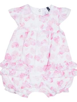 3pommes & B-Karo Pink Heart Ruffle Romper - 3Pommes Kids
