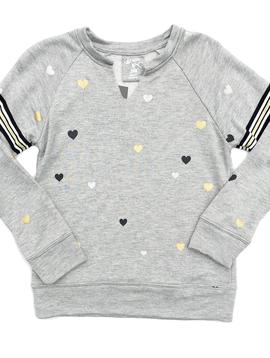 Flowers by Zoe Mini Heart Sweatshirt w Taping - Flowers By Zoe